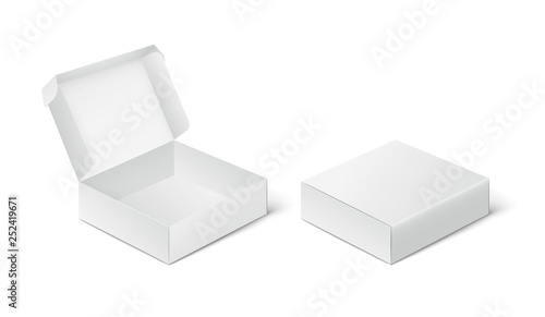 Slika na platnu Two empty closed and open packing boxes, box mockup on white background