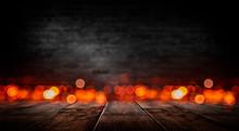 Empty Dark Room Scene. Old Brick Wall And Wooden Floor. Blur Bokeh Lights. Abstract Bokeh Light. Night View