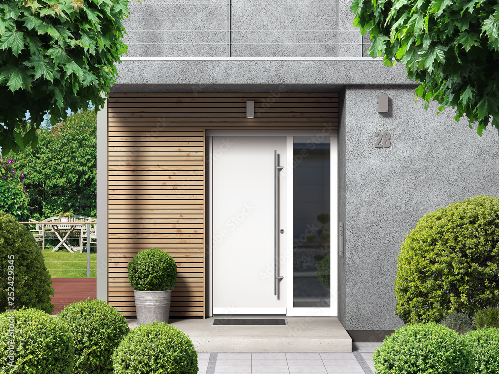 Fototapeta Modern home facade with entrance, front door and view to the garden - 3D rendering