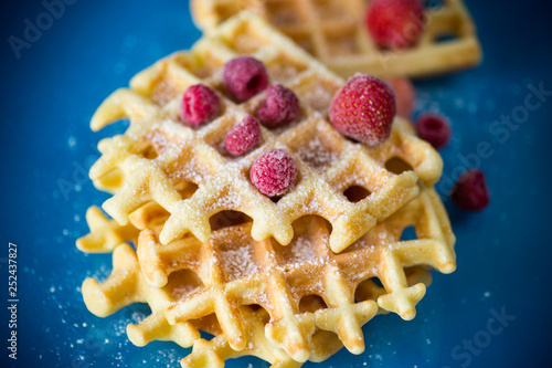 Fotografía  cooked sweet Viennese waffles on a blue