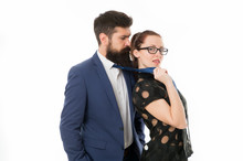 Seductive Secretary. Business Partners Man With Beard And Woman Flirting Business Conference Or Meeting. Boss And Attractive Lady Assistant White Background. Business Relations. Flirting With Boss