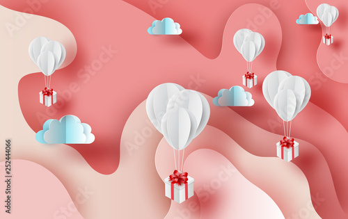 3D Paper art of Air white balloons gift floating on Abstract Curve shape pink sky background,valentine season concept Canvas Print