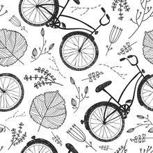 Vector Bicycles, Florals And Leaves Hand Drawn Seamless Pattern. Vintage Doodle Style Background.