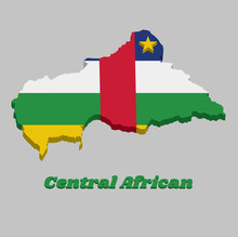 3D Map Outline And Flag Of Central African, Horizontal Stripes Of Blue, White, Green And Yellow And One Vertical Red In The Middle; With A Yellow Star.