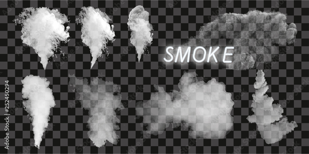 Fototapeta Smoke vector collection, isolated, transparent background. Set of realistic white smoke steam, waves from coffee,tea,cigarettes, hot food. Fog and mist effect.