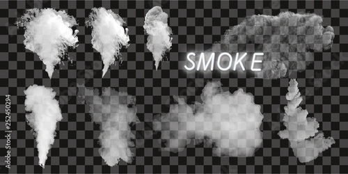 Poster de jardin Fumee Smoke vector collection, isolated, transparent background. Set of realistic white smoke steam, waves from coffee,tea,cigarettes, hot food. Fog and mist effect.