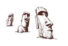 Vintage Set Of Moai,vector Idol,statues Of Easter Island