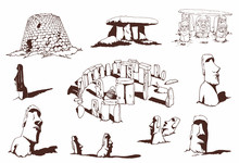 Vintage Set Of Dolmens And Statues Of Easter Island,vector Illustration