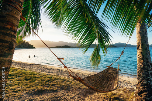 Fotografie, Obraz Empty hammock between two palm trees on the beach at sunset