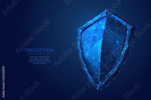 Obraz na plátně Shield Low poly blue