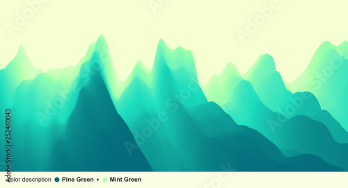 Wall Murals Green coral Landscape with mountains and sun. Sunset. Mountainous terrain. Abstract background. Vector illustration.