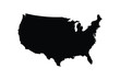 Black map of the United States of America isolated on white background - Vector.
