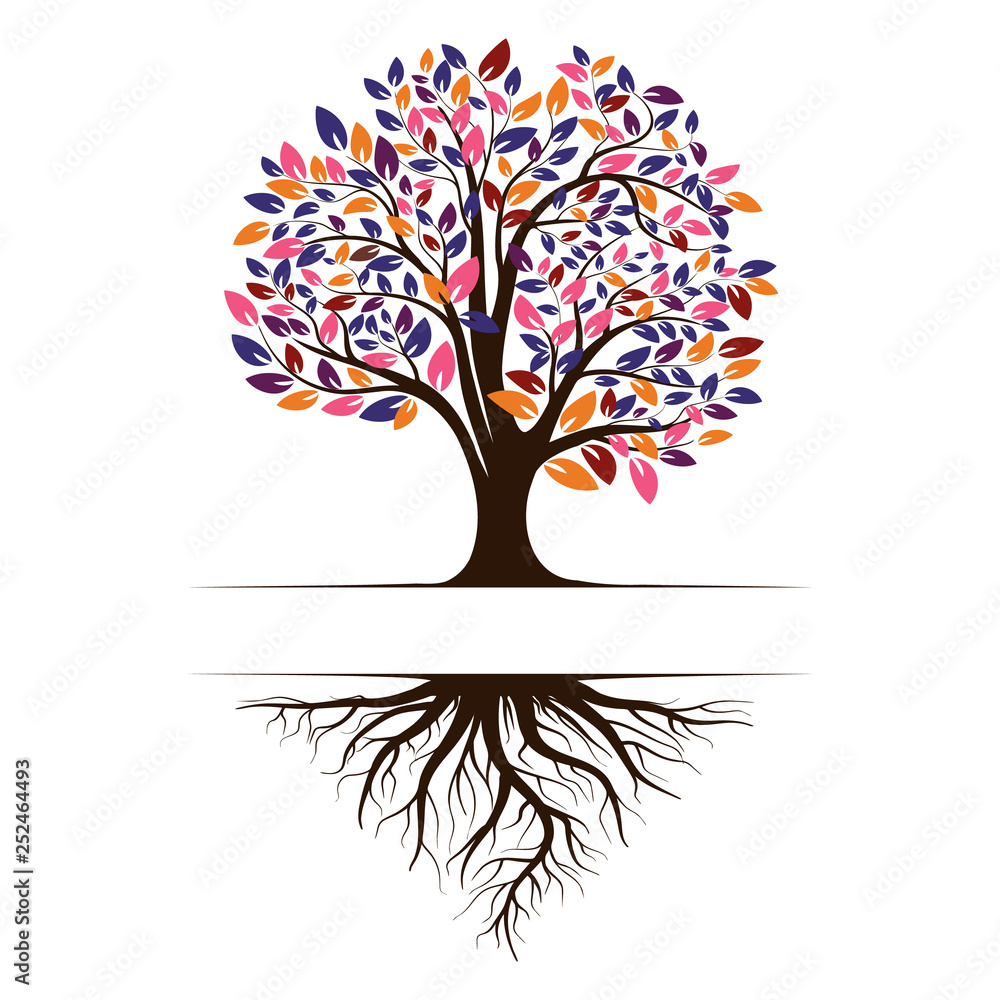 Fototapety, obrazy: Logo of a green life tree with roots and leaves. Vector illustration icon isolated on white background.