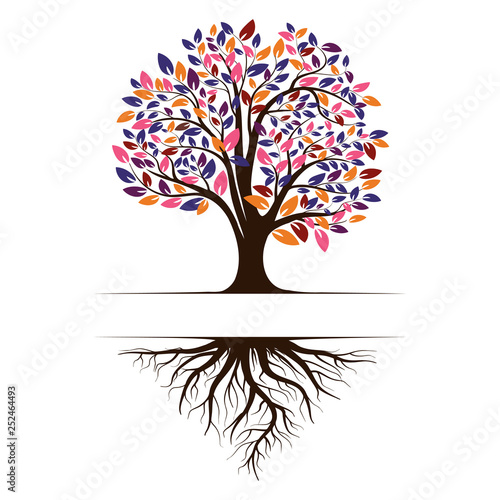 Logo of a green life tree with roots and leaves. Vector illustration icon isolated on white background. Wall mural