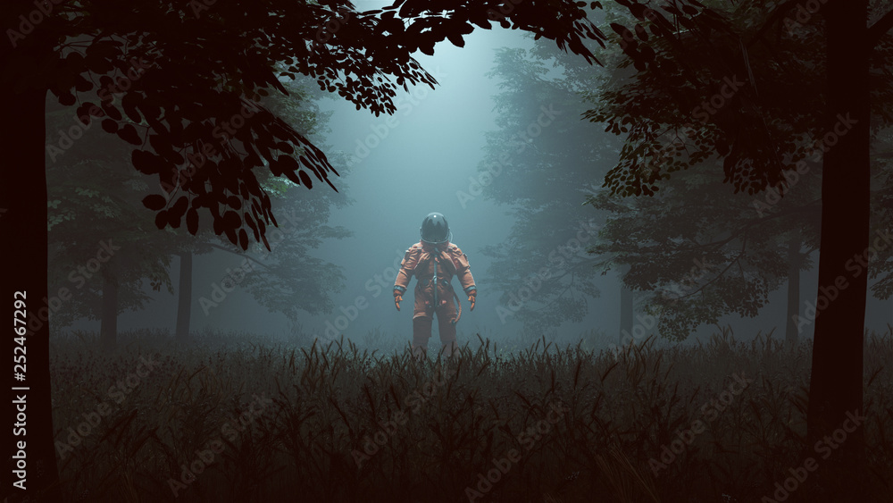 Fototapety, obrazy: Astronaut in an Orange Advanced Crew Escape Suit with Black Visor Standing in a Wooded Clearing with a Beam of Light 3d illustration 3d render