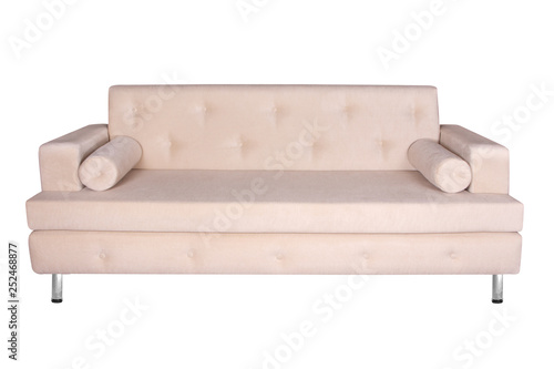 Brown Front Side View Sofa Furniture Isolated On White Background