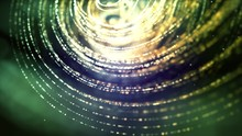 Golden Yellow & Green Spiral Bokeh Orb Shaped Particles