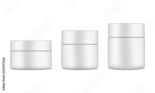 Fotografie, Obraz  Set of plastic cosmetic jars mockups isolated on white background