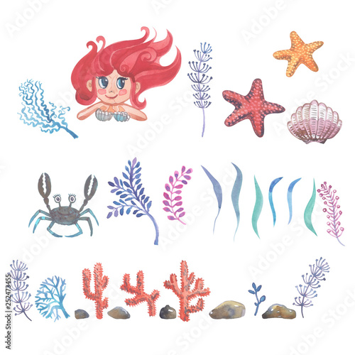 Photographie  Watercolor little mermaid with pink hair and green fish tail lies on the sand on the seabed