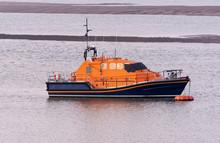 River Torridge, Appledore, Devon UK. February 2019. A Lifeboat On Mooring Mid River Torridge.
