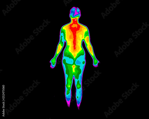 Obraz Thermographic photo of the back of the whole body of a woman with the photo showing different temperatures in a range of colors from blue showing cold to red showing hot, can be joint inflammation - fototapety do salonu
