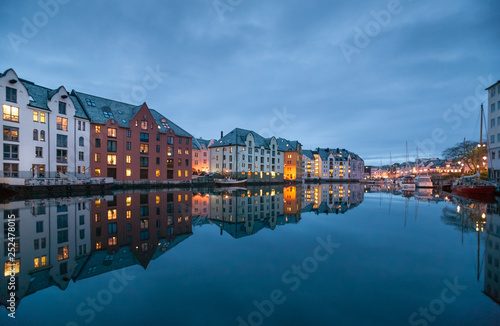Poster Northern Europe City of Alesund in middle Norway, Scandinavia,