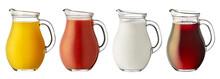 Set Glass Jug Of Juice And Milk Isolated On White Background.
