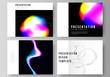 The vector layout of the presentation slides design business templates. SPA and healthcare design, sci-fi technology background. Abstract futuristic or medical consept backgrounds to choose from