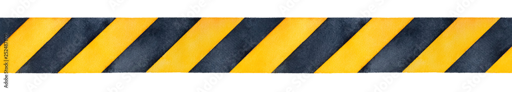 Fototapeta Black and yellow watercolor stripes tape. Bright contrast colours to warn or catch attention. Handdrawn watercolour sketchy gradient drawing on white, isolated clip art element for design decoration.
