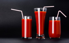 Glass Of Tomato Juice Isolated On Black Background With Copy Space