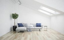 White Living Room Interior With Roof Slope