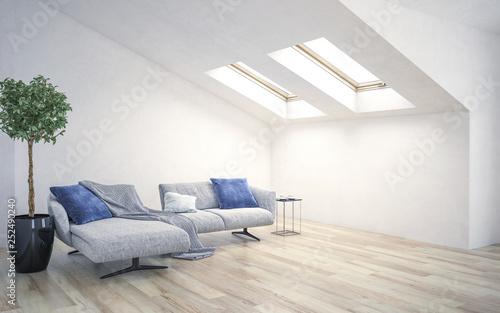 Obraz na plátně White living room interior with roof slope