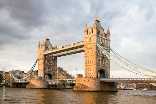 Poster London Tower Bridge is a combined bascule and suspension bridge and it crosses the river Thames in London, Uk.