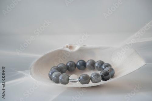 Fototapeta Black Tourmaline bracelet in a seashell with a soft greyish white background