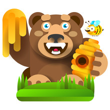 Bear With Honey In Nature Vector Illustration