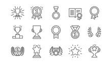 Award Line Icons. Winner Medal...
