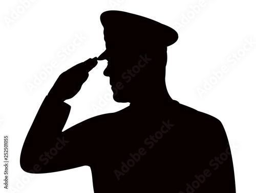 a soldier man saluting, silhouette vector Fototapet