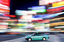 Tokio Taxi Bei Nacht In Shibuya Japan