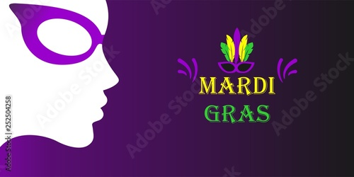 Mardi gras carnival design on dark background Wallpaper Mural