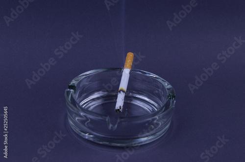 Fényképezés  Smoking cigarette in a glass ashtray on a gray background