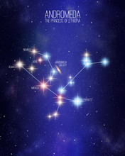 Andromeda The Princess Of Ethiopia Constellation On A Starry Space Background With The Names Of Its Main Stars. Relative Sizes And Different Color Shades Based On The Spectral Star Type.