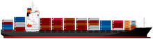 Container Ship, Containership, Cargo Ship That Carry All Loads In Truck-size Intermodal Containers Realistic Vector Illustration