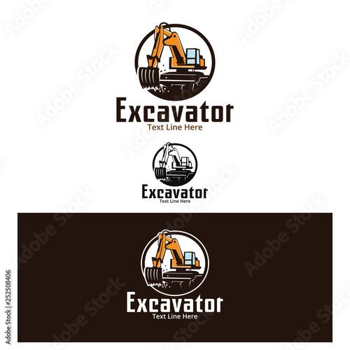 Photo excavator, a design for business, company, construction, etc