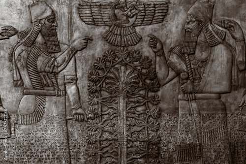 Bas-reliefs with inscriptions of the ancient Sumerians Wallpaper Mural
