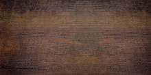 Wood Texture Abstract Background, Dark Rough Plank For Backdrop. Old Brown Wooden Table With Crack. Surface Of Vintage Wood Board Or Laminate With Dark Natural Color And Pattern.