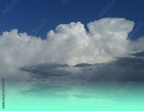 Fototapeta Cielo nuvoloso con raggi di sole riflesso in acqua obraz na płótnie