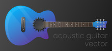 Realistic Gradient Acoustic Guitar Isolated On Dark Background. The Most Detailed. Vector, Scalable And Editable Colour