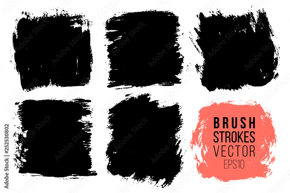 Fototapety, obrazy: Vector set of big hand drawn brush strokes, stains for backdrops. Monochrome design elements set. One color monochrome artistic hand drawn backgrounds square shapes.