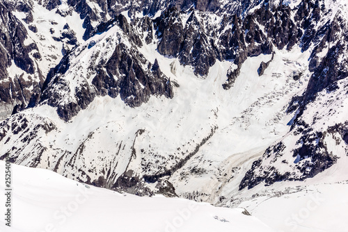 Snowy mountains Chamonix, Mont Blanc, Haute-Savoie, Alps, France #252540094