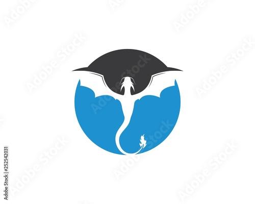 In de dag Uilen cartoon Dragon logo template vector